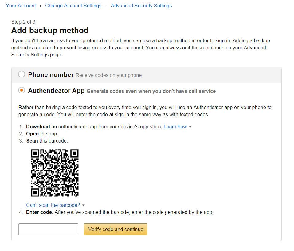 Anschließend muss eine Backup Methode eingerichtet werden, sollte die Mobilfunknummer nicht verfügbar sein (Bild: Screenshot Amazon.com).