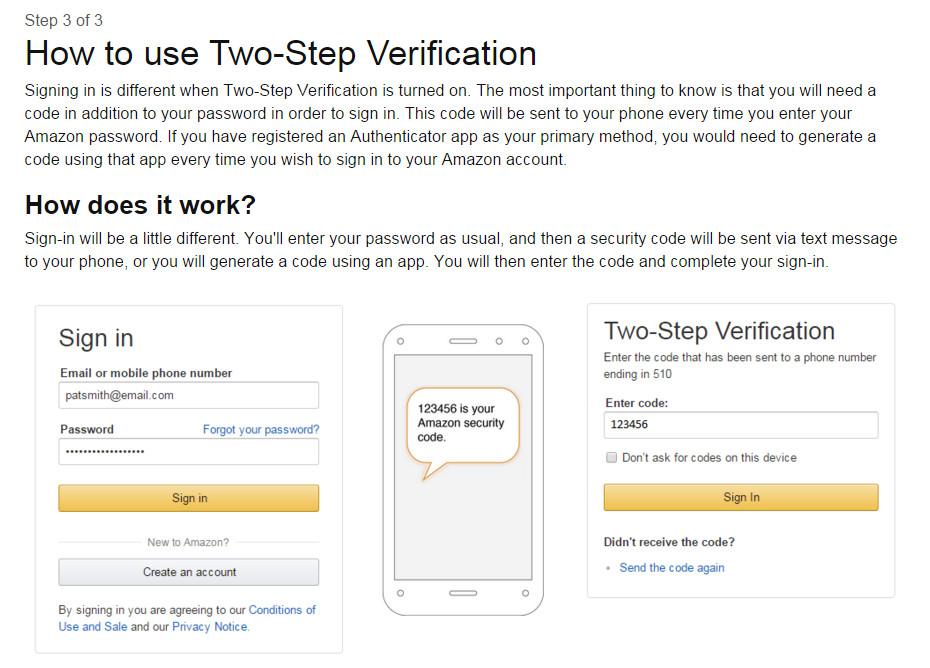 Abschließend erklärt Amazon noch einmal, wie die Zwei-Faktor-Authentifizierung funktioniert (Bild: Screenshot Amazon.com).