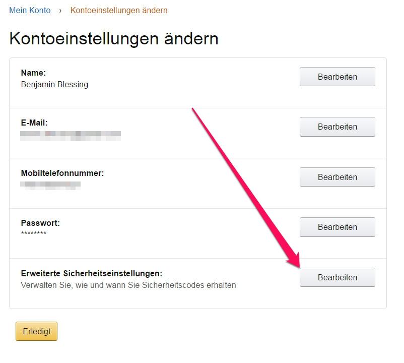 Amazon erweiterte Sicherheitseinstellungen