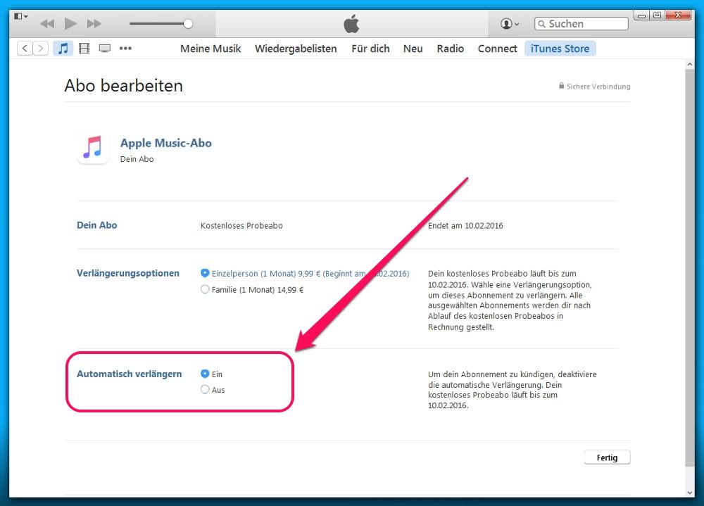 Soll Apple Music nicht automatisch verlängert werden, lässt sich hier die Option deaktivieren (Bild: Screenshot iTunes).