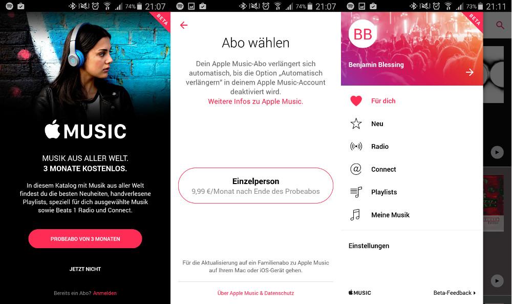 Apple Music für Android ist verfügbar (Bild: Screenshot Apple Music).