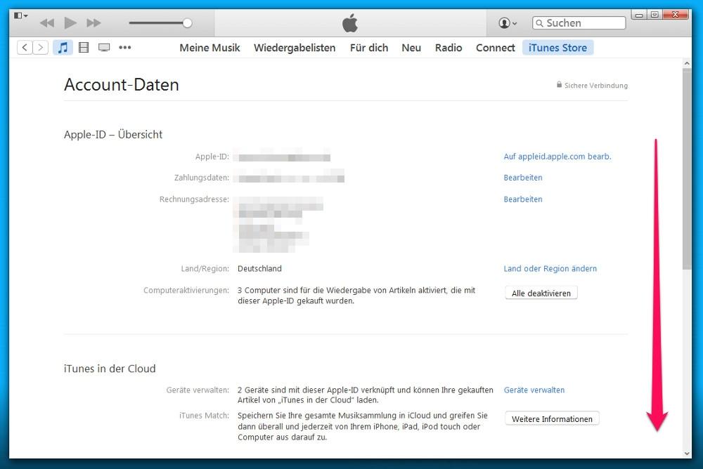 In den Einstellungen zum Konto befinden sich die Abonnements ganz unten (Bild: Screenshot iTunes).