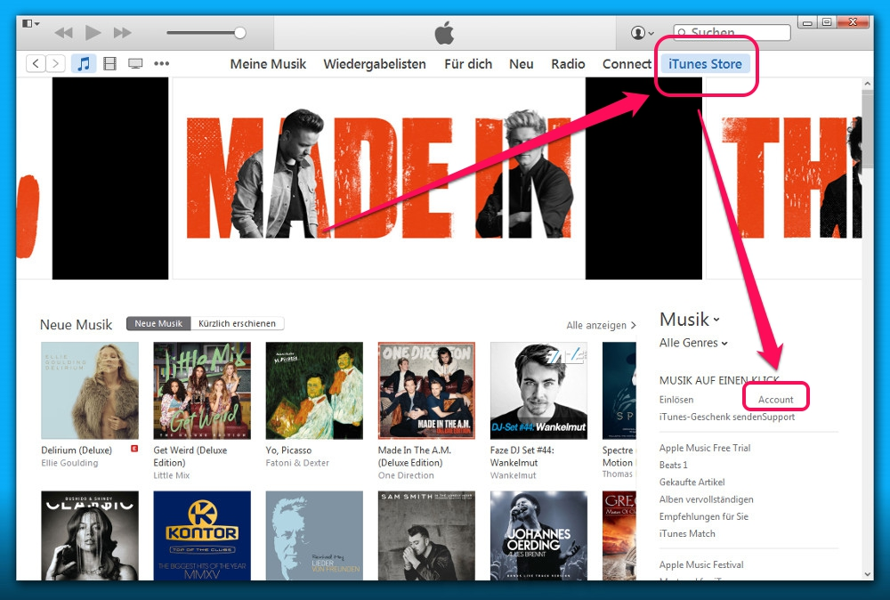 Apple-ID über iTunes verwalten (Bild: Screenshot iTunes).