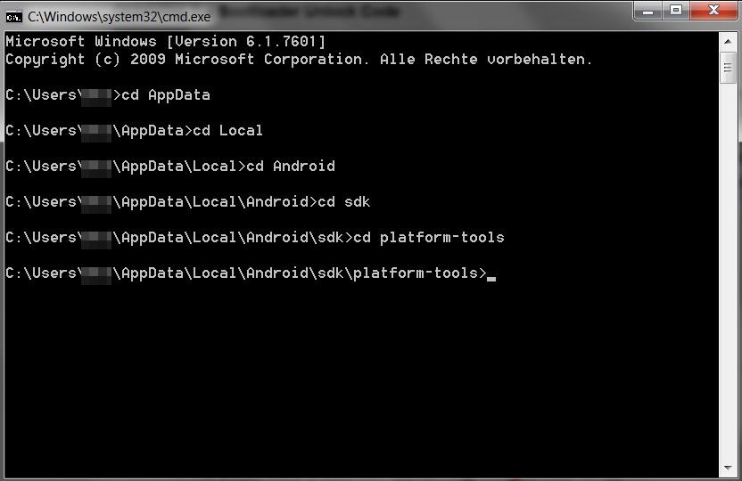 Navigation in de Eingabeaufforderung unter Windows (Bild: Screenshot Windows 7).