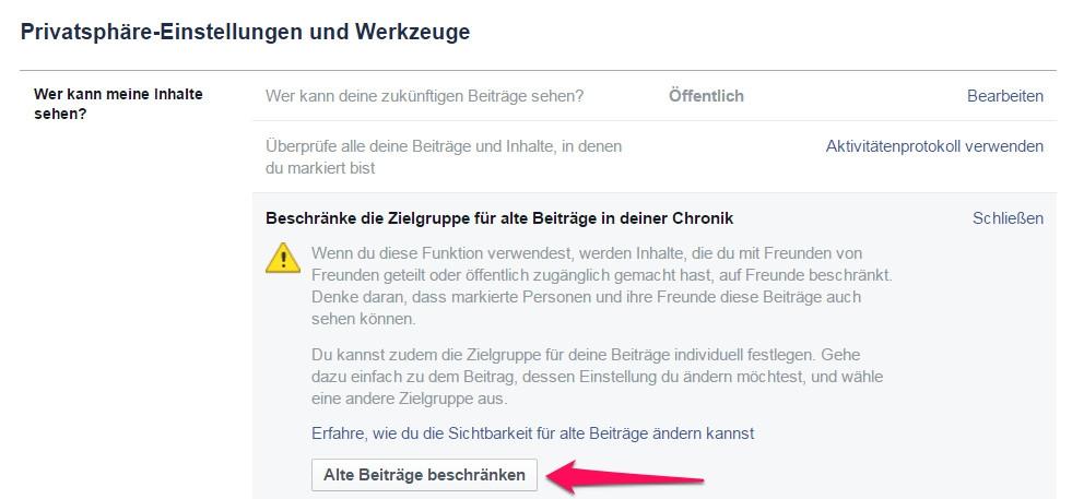 """Im Abschnitt """"Wer kann meine Inhalte sehen?"""" lässt sich die Zielgruppe der Beiträge einschränken (Bild: Screenshot Facebook)."""