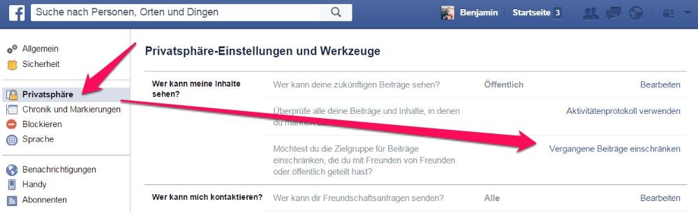 Die Privatsphäre Einstellungen zu Facebook befinden sich auf der Einstellungsseite (Bild: Screenshot Facebook).