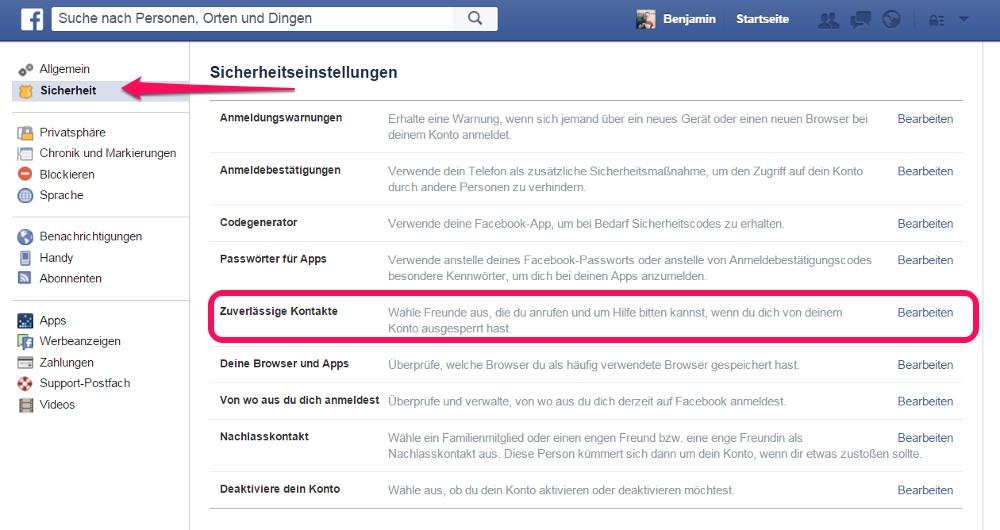 In den Sicherheitseinstellungen zu Facebook befindet sich die Option zu den zuverlässigen Kontakten (Bild: Screenshot Facebook).