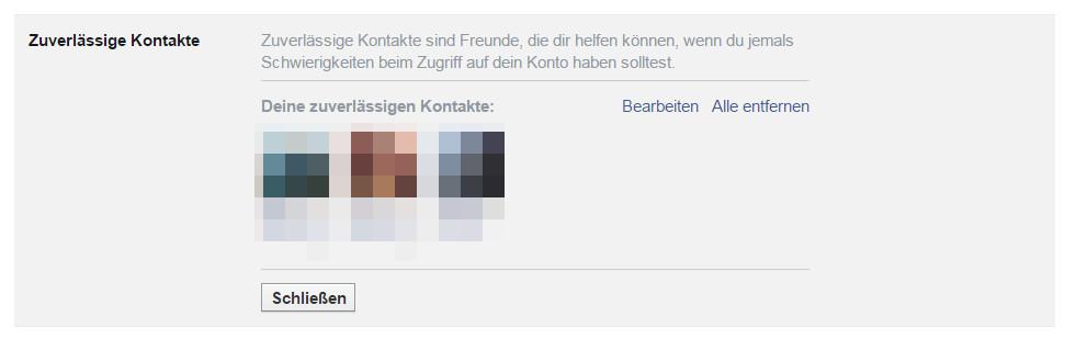 Zuverlässige Kontakte können jederzeit gelöscht und durch neue ersetzt werden (Bild: Screenshot Facebook).
