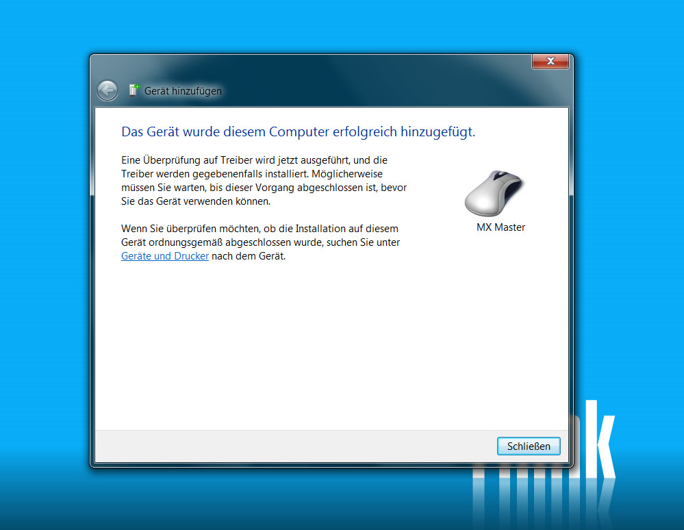Logitech MX Master per Bluetooth verbinden (Bild: Screenshot Windows 7).