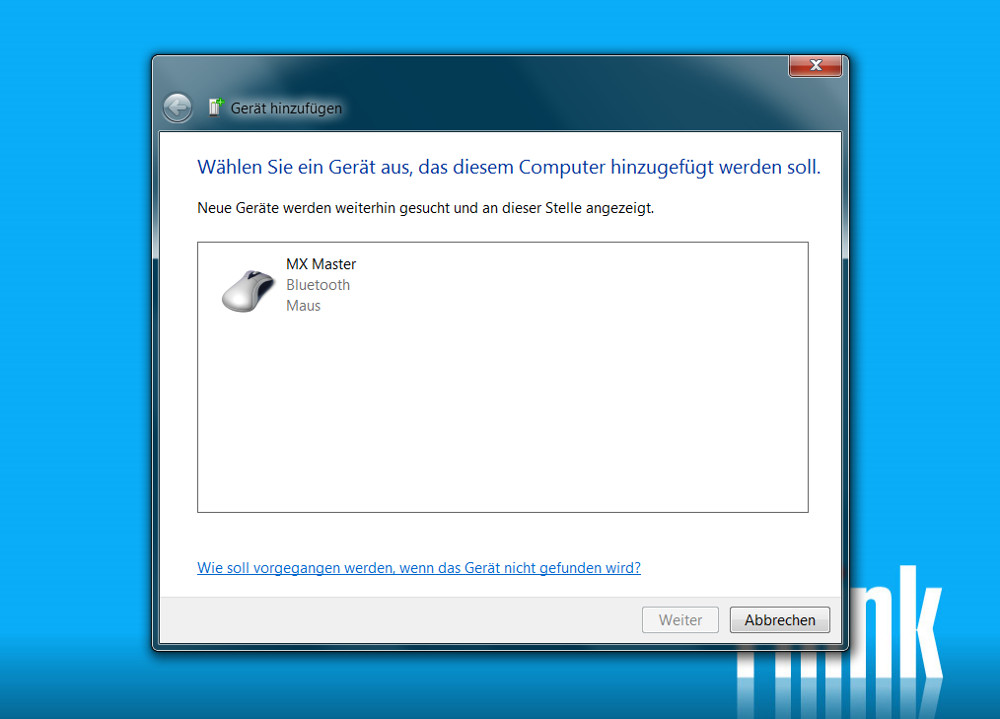 Logitech MX Master per Bluetooth verwenden (Bild: Screenshot Windows 7).