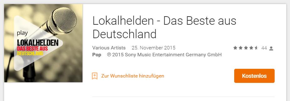 Lokalhelden - Das Beste aus Deutschland (Bild: Screenshot Google Play Musik).