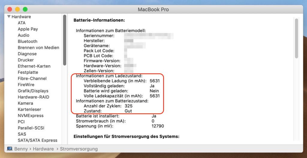 MacBook Informationen zur Batterie