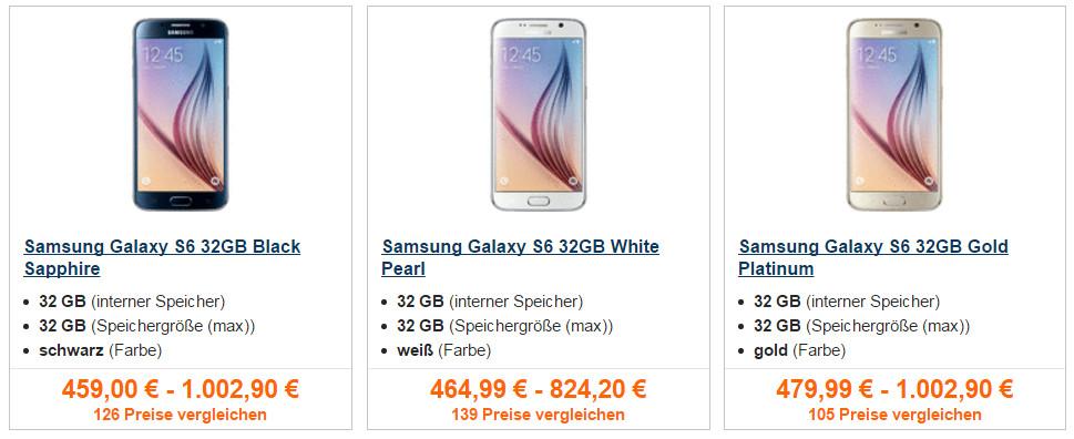 Samsung Galaxy S6 im Preisvergleich (Bild: Idealo.de).