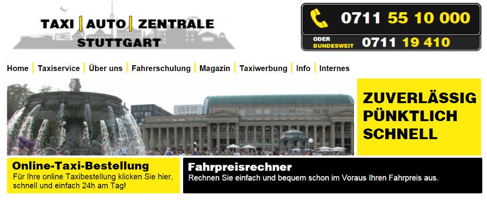 Die Stuttgarter Taxi Auto Zentrale Webseite (Bild: Screenshot taxi-auto-zentrale.de).