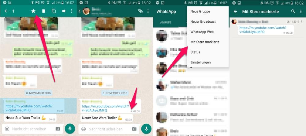 WhatsApp Nachrichten lassen sich zum leichten Wiederauffinden mit einem Stern markieren (Bild: Screenshot WhatsApp).
