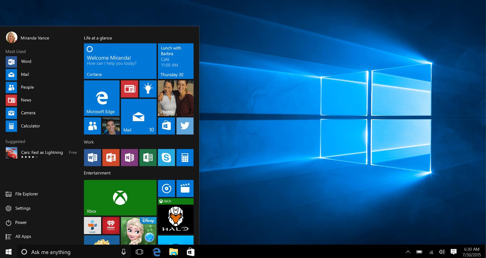 Windows 10 Startbildschirm