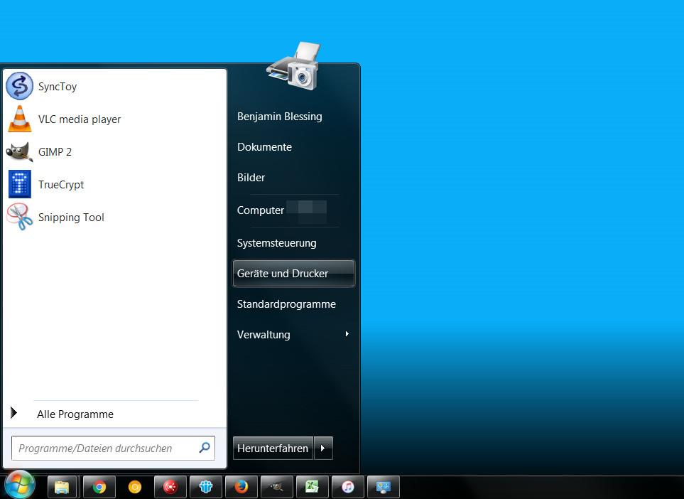 Geräte und Drucker unter Windows 7 aufrufen (Bild: Screenshot Windows 7).