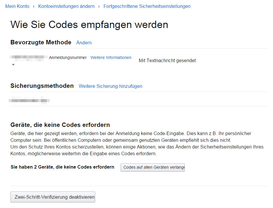 Anschließend steht die Zwei-Faktor-Authentifizierung auch über das deutsche Amazon-Konto zur Verfügung (Bild: Screenshot Amazon.de).