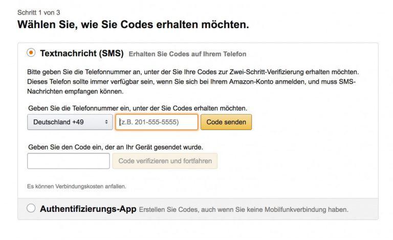 Zwei-Faktor-Authentifizierung für das Amazon einschalten