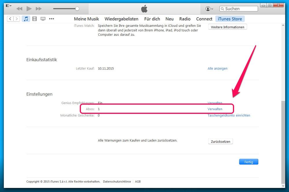Hier zeigt iTunes die Anzahl der Abonnements an (Bild: Screenshot iTunes).