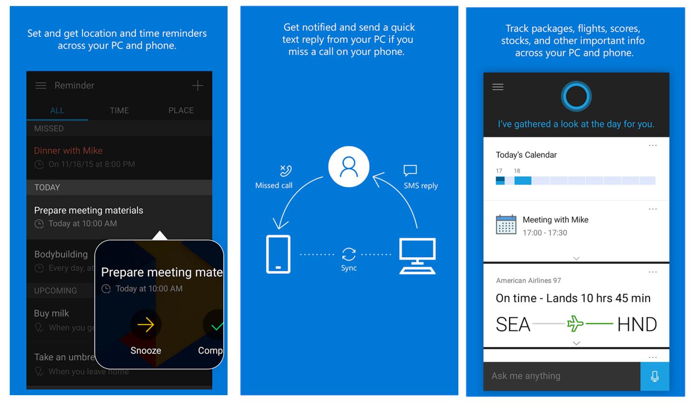 Cortana für Android und iOS (Bild: Microsoft).