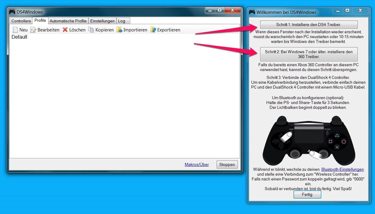 Nach der Installation von DS4Windows sind die passenden Treiber einzuspielen (Bild: Screenshot DS4Windows).