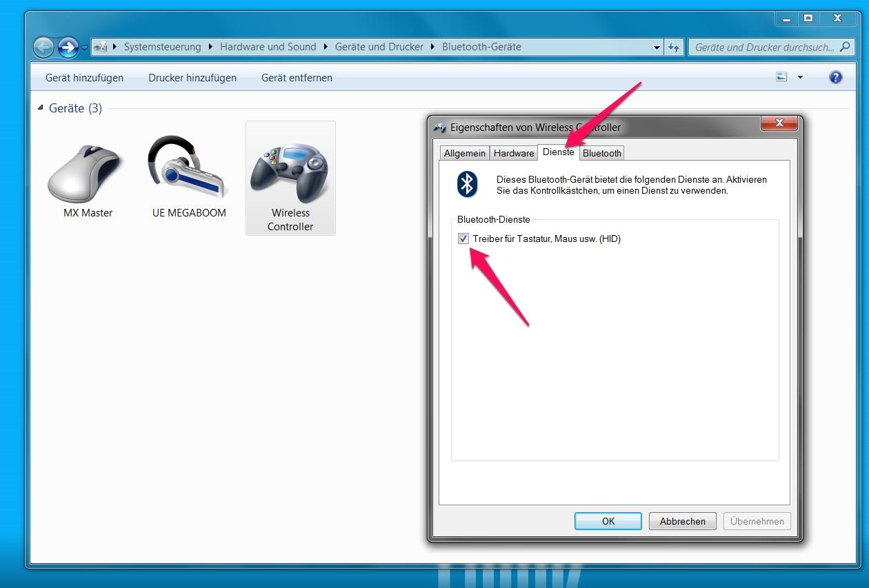 Dieser Haken sollte bei den Bluetooth-Einstellungen gesetzt sein (Bild: Screenshot Windows 7).