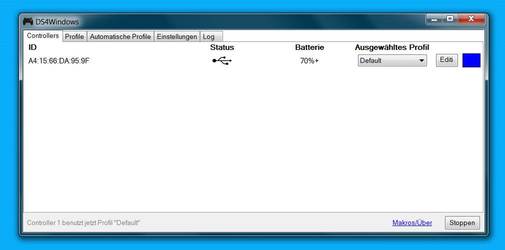 Den DualShock 4 der PlayStation 4 per USB verbinden (Bild: Screenshot Windows).