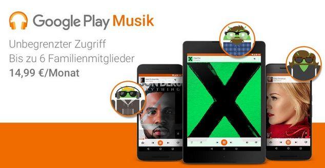 Auch Google Play Musik bietet ein Familienabo an (Bild: Google Blog).