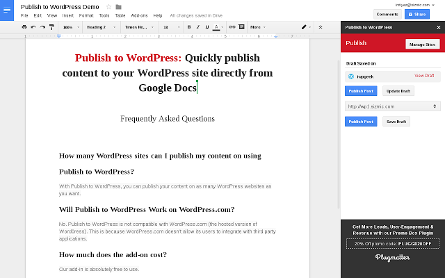 Publish to WordPress verknüpft den WordPress-Blog mit Google Docs (Bild: Plugmatter.com).