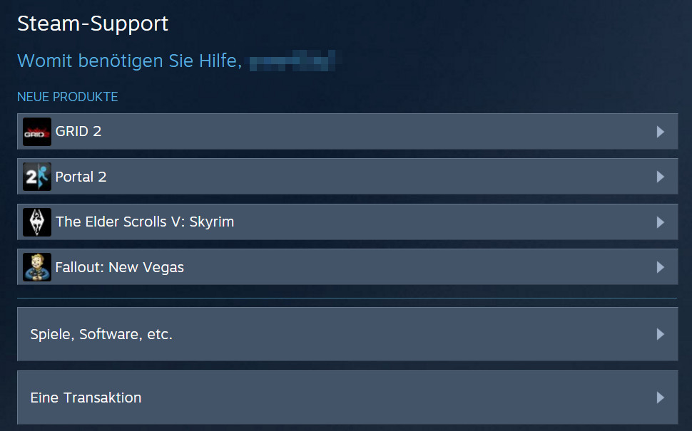 Der Steam Support - Spiele, Software, etc (Bild: Screenshot Steam).