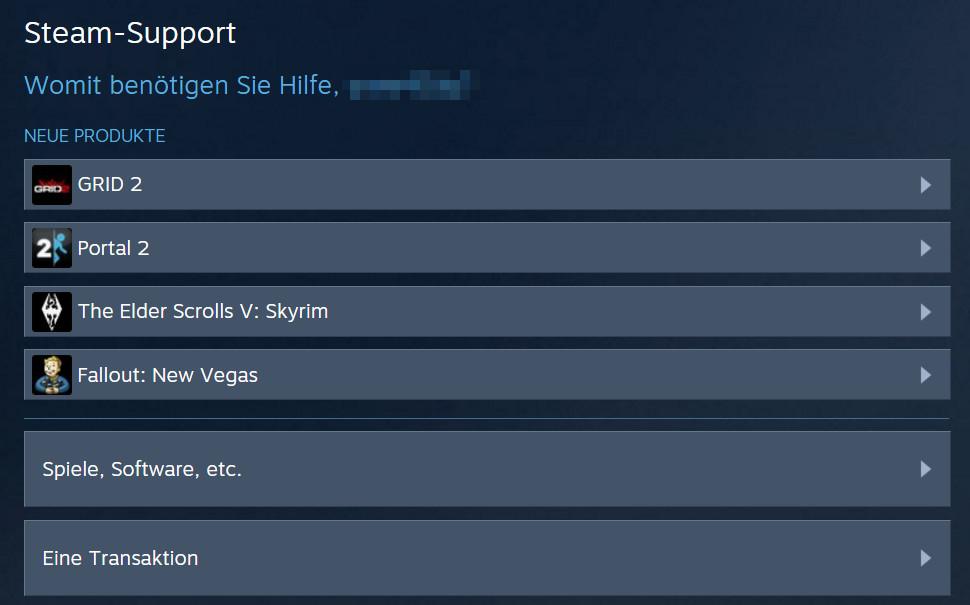 Der Steam Support - Spiele, Software, etc (Bild: Screenshot Steam).