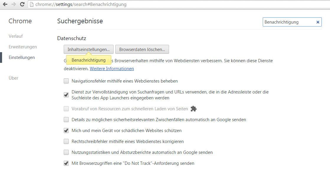 Google Chrome Inhaltseinstellungen
