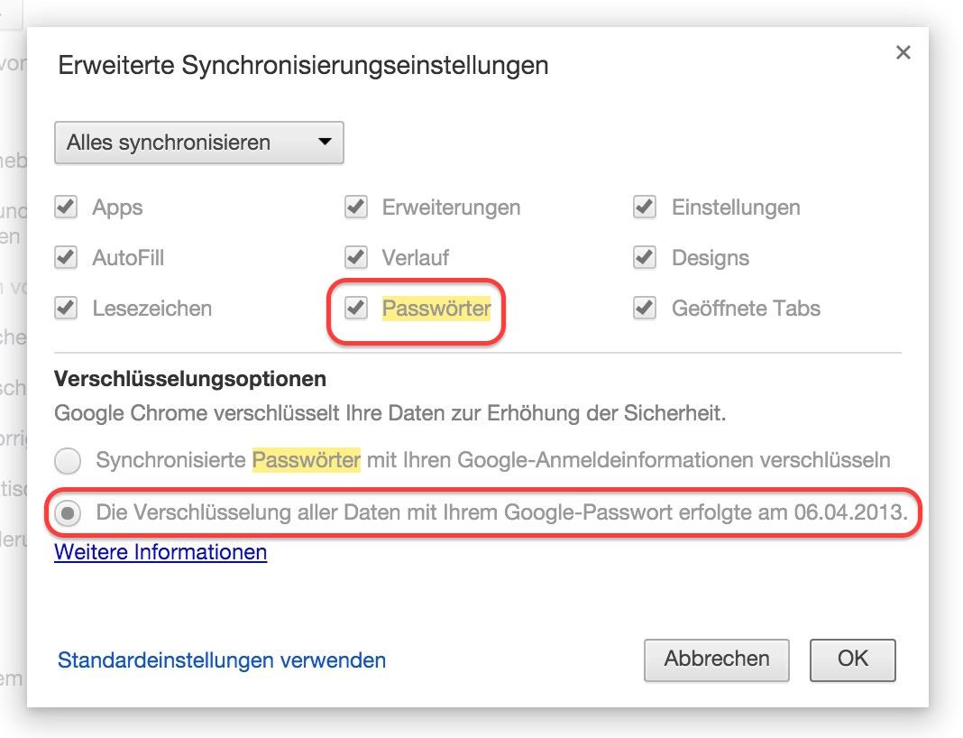 Google Chrome Synchronisierungspassphrase