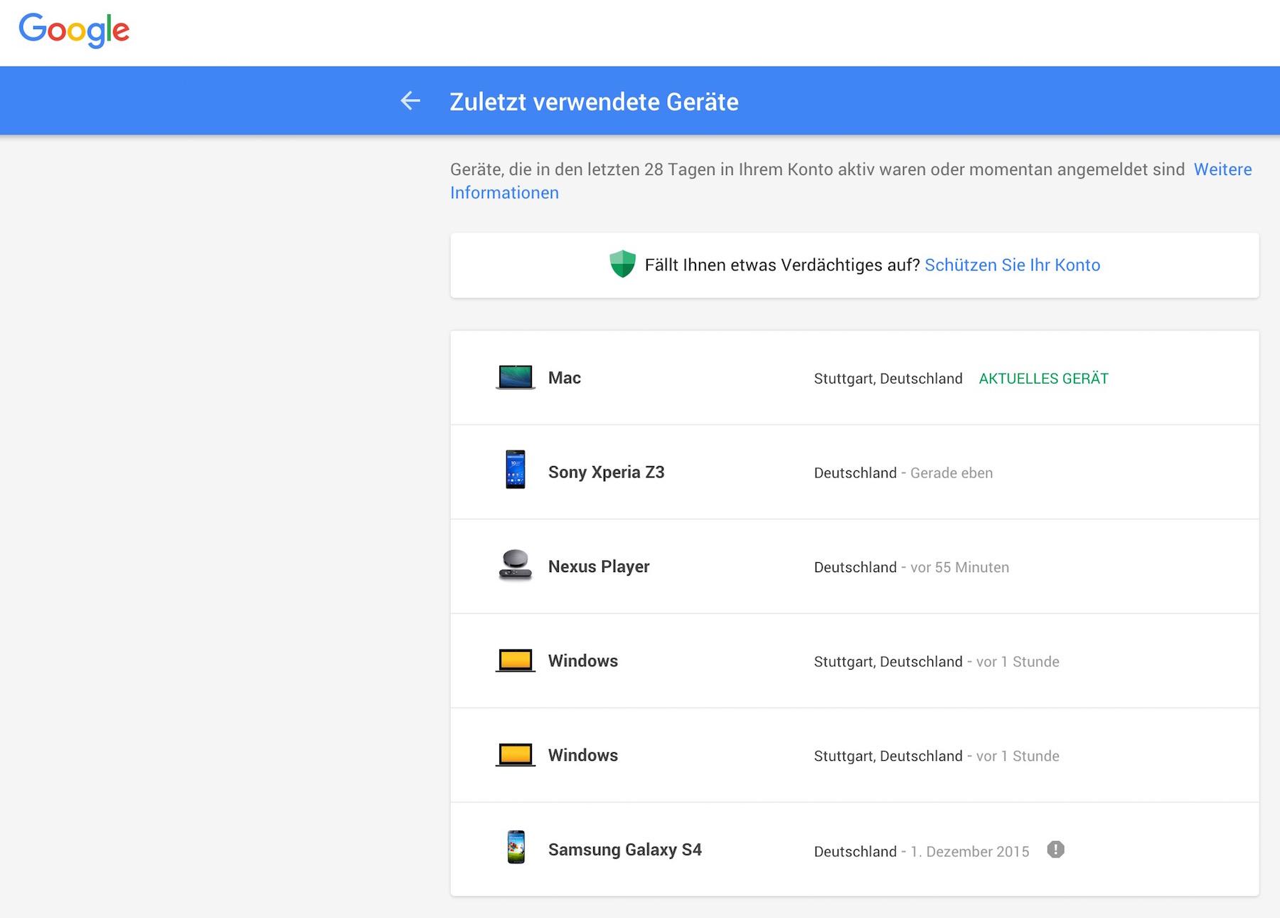 Google Kontozugriff - Zuletzt verwendete Geräte