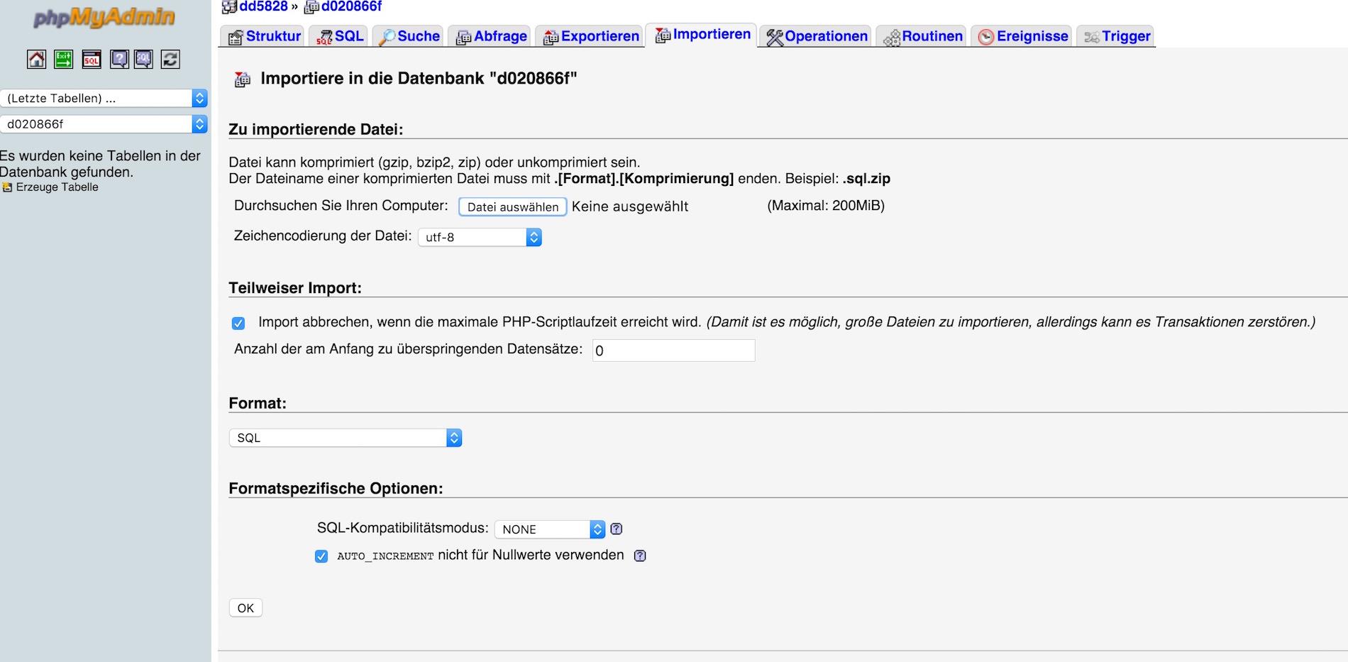 SQL Datenbank per phpMyAdmin importieren