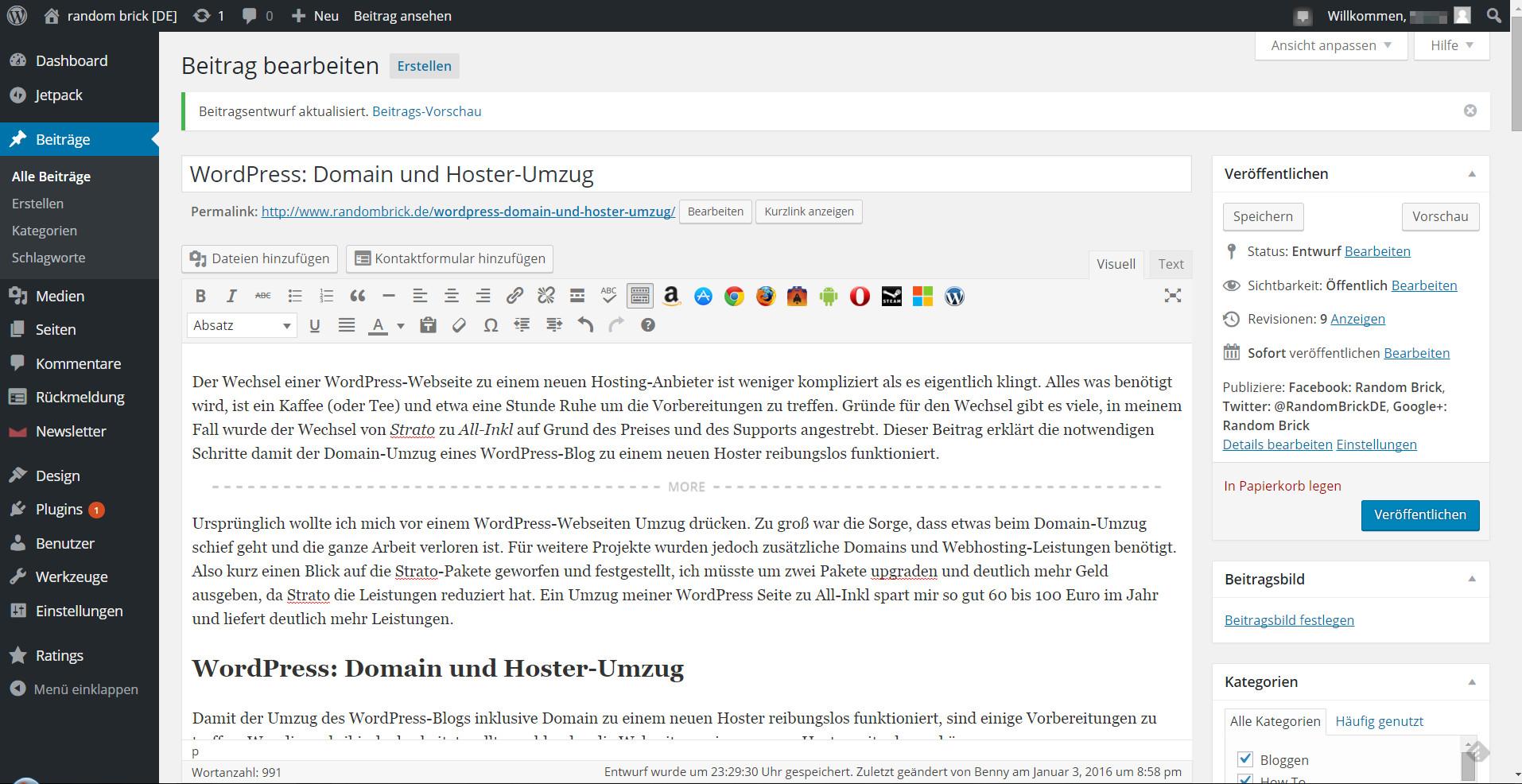 WordPress Domain Umzug zu neuem Hoster