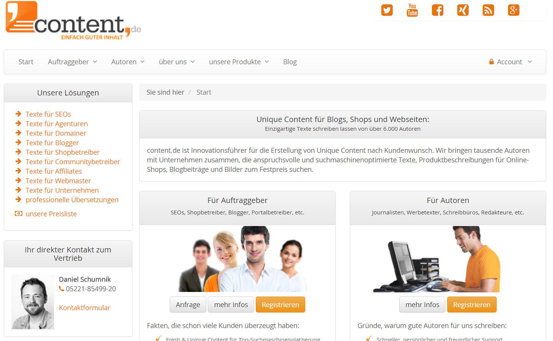 Content.de Webseite