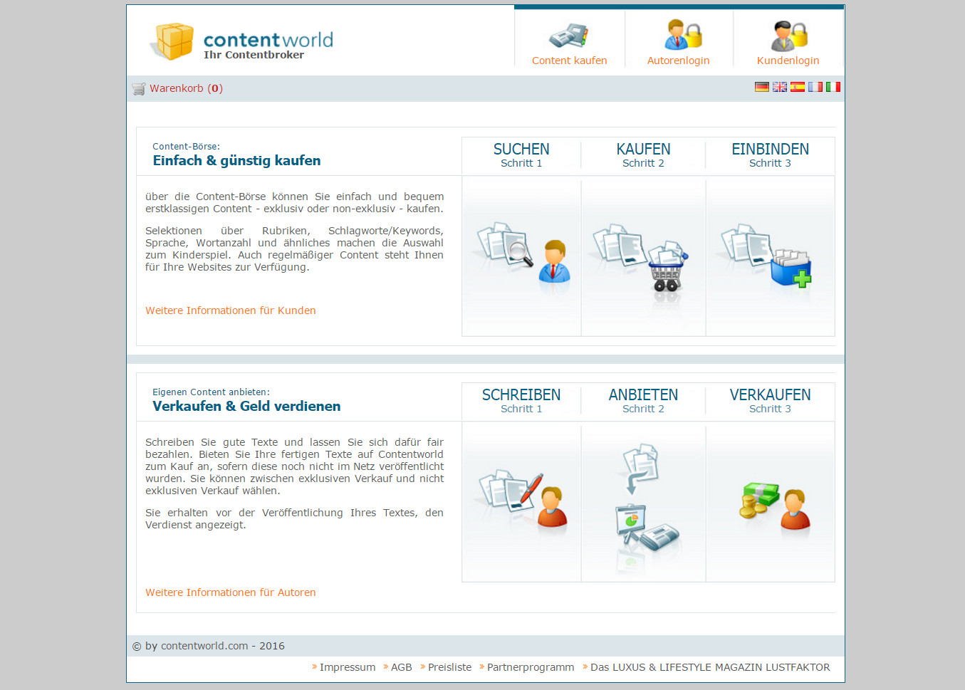 Contentworld.de Webseite