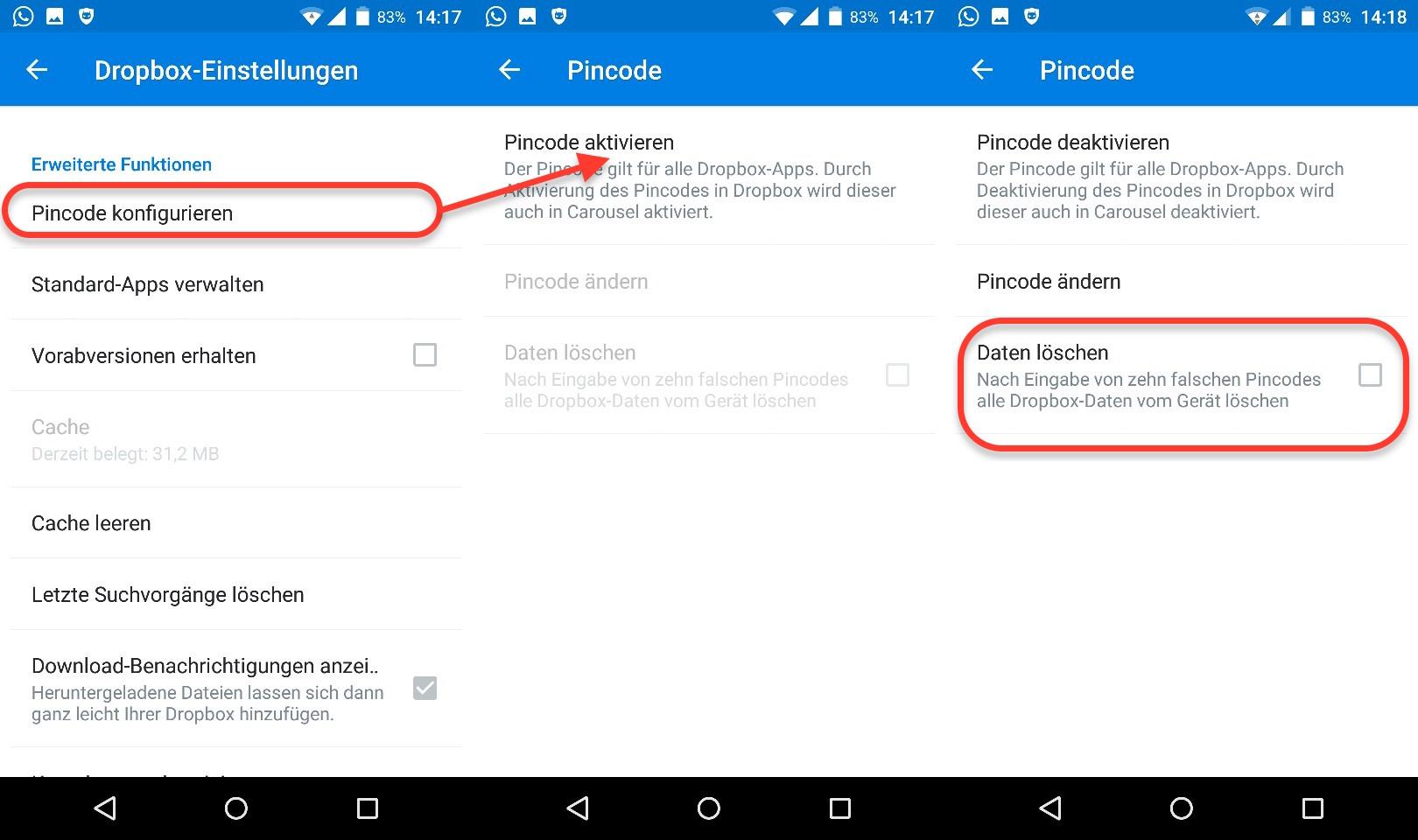Dropbox per PIN schützen