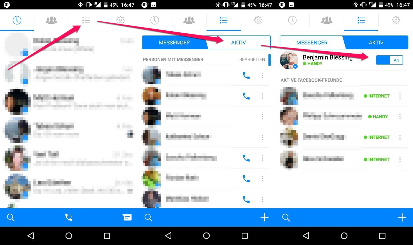 Facebook Messanger - Handy-Anzeige deaktivieren