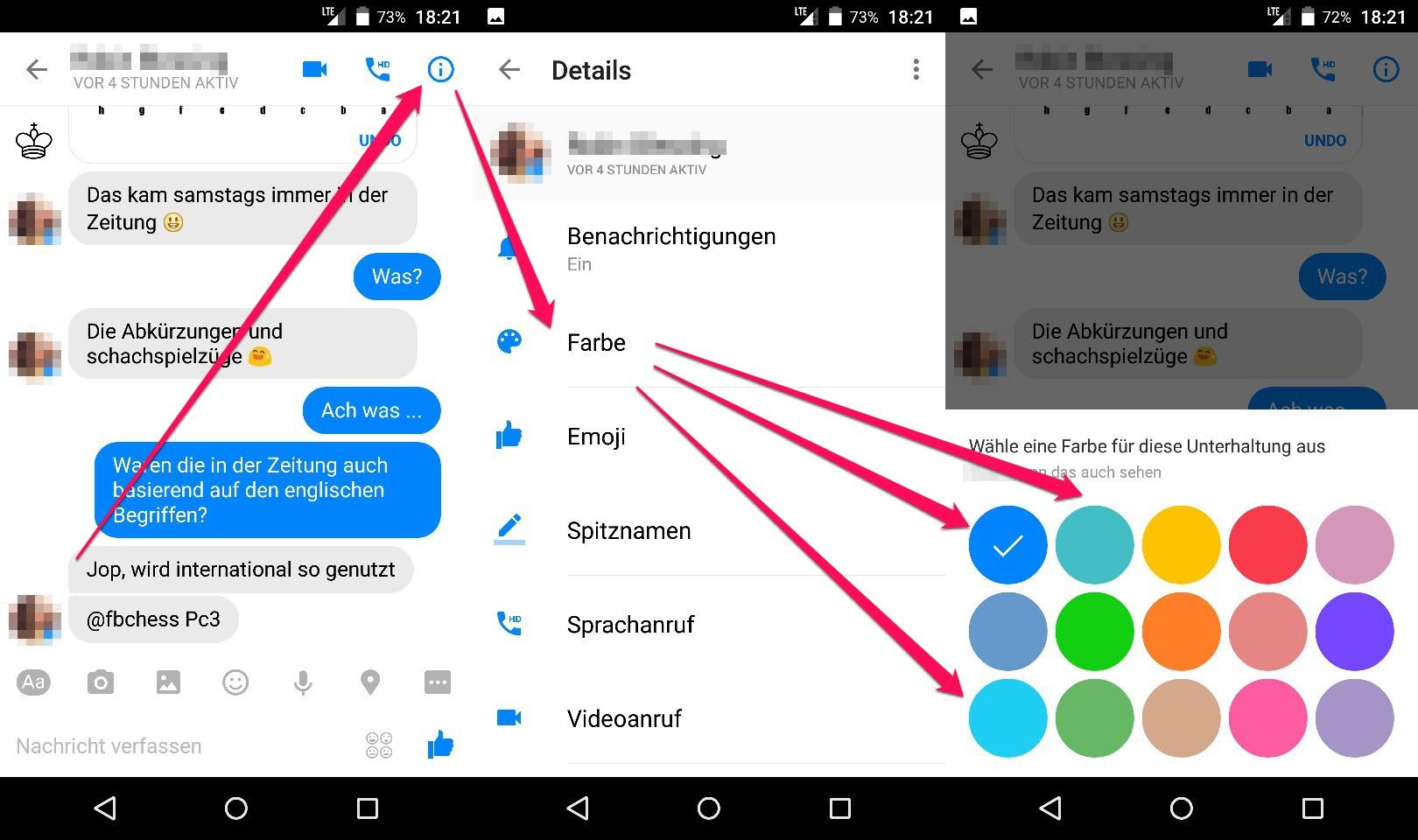 Facebook Messenger -Farben von Chats ändern