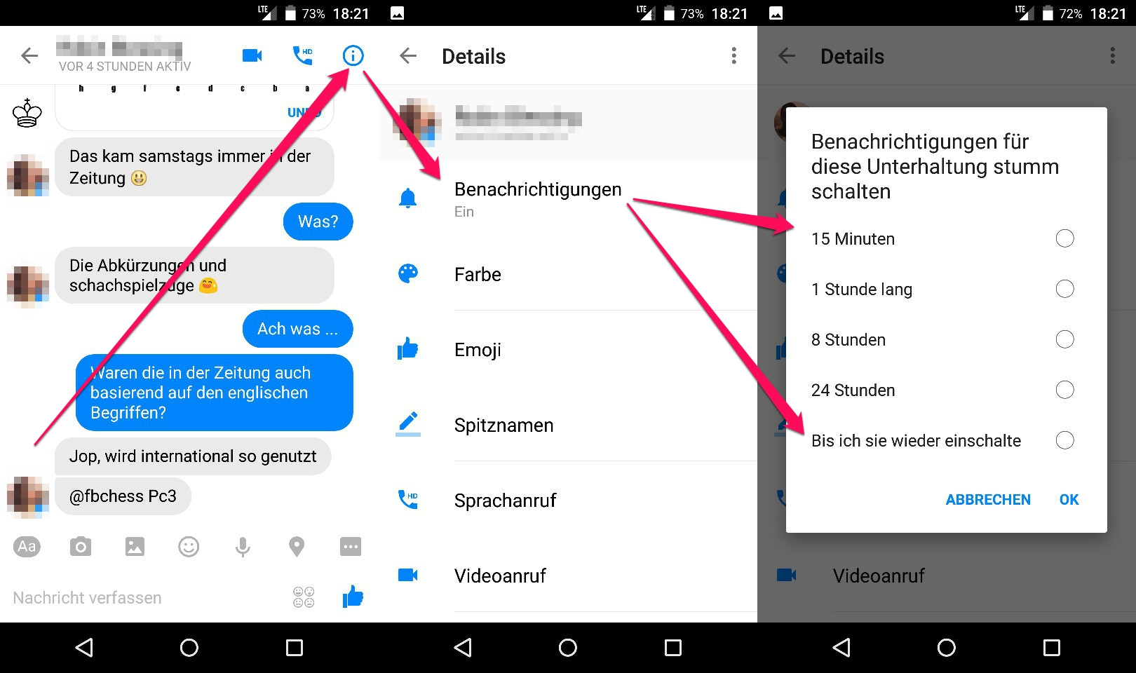 Facebook Messenger -Kontakte stummschalten