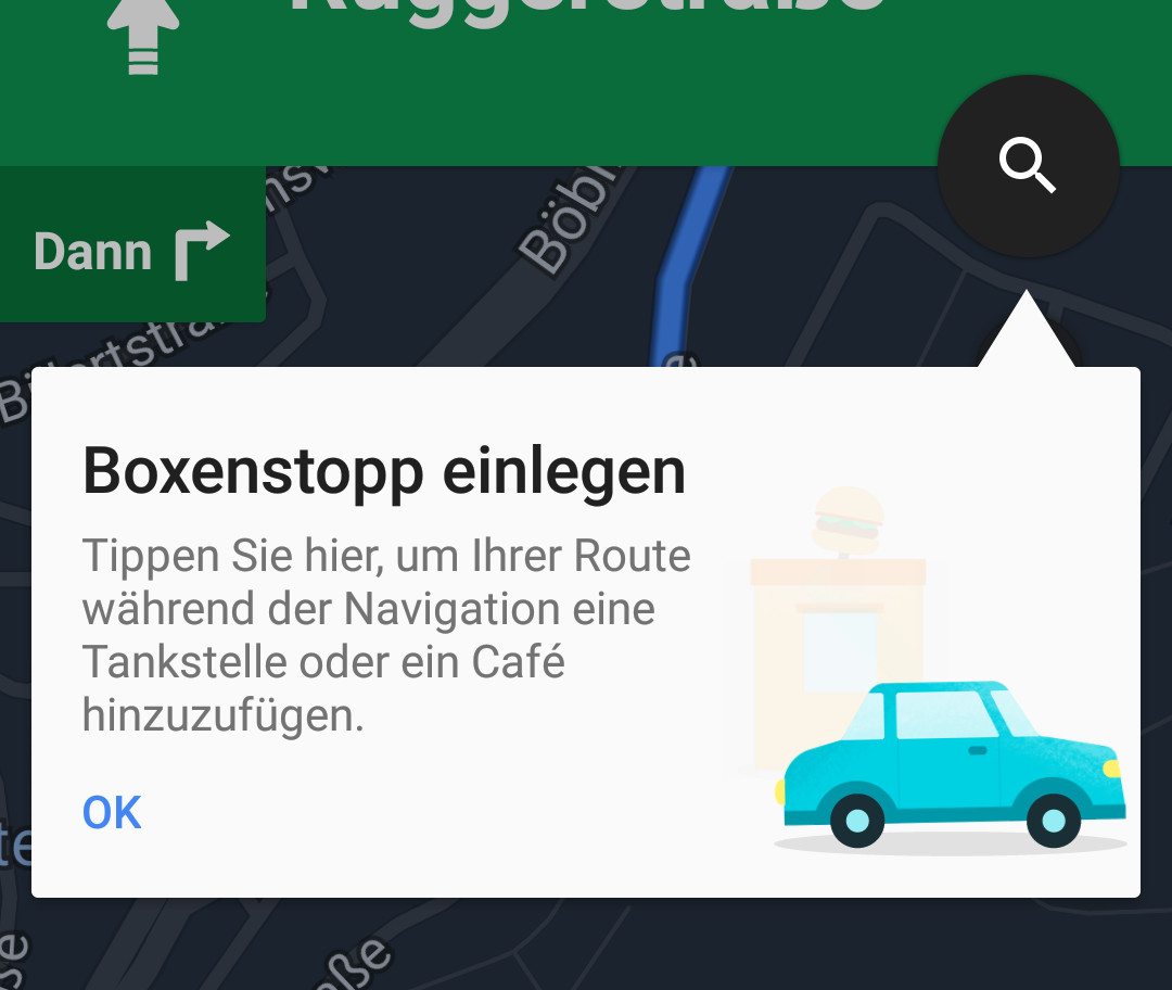 Google Maps - POI-Suche entlang der Route