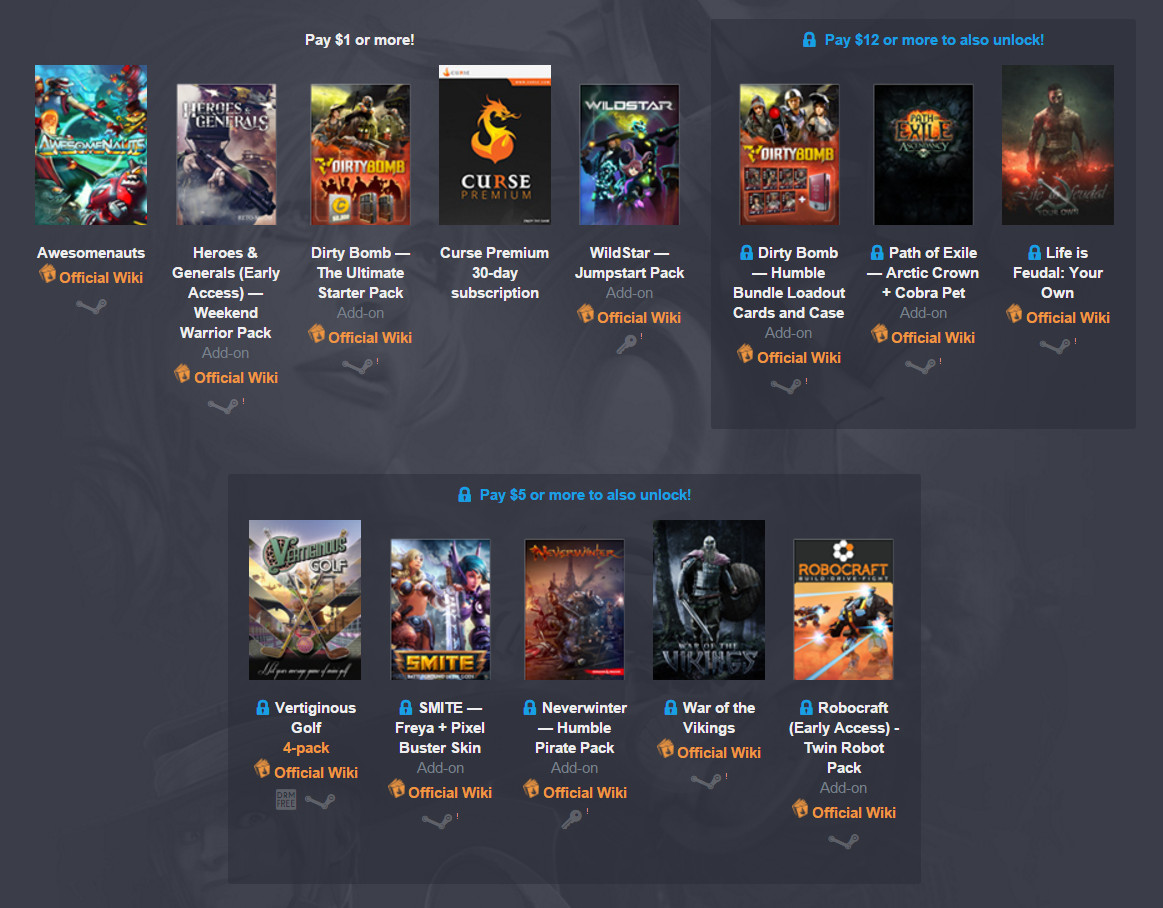 Humble Gamepedia Online Multiplayer Bundle Spiele