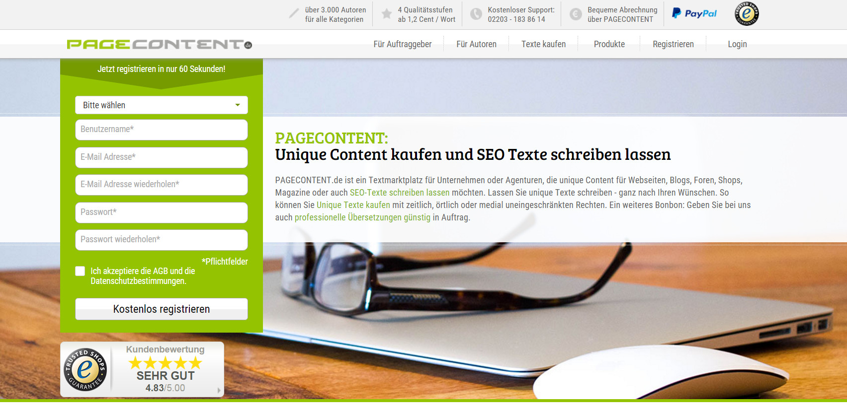 Pagecontent.de Webseite