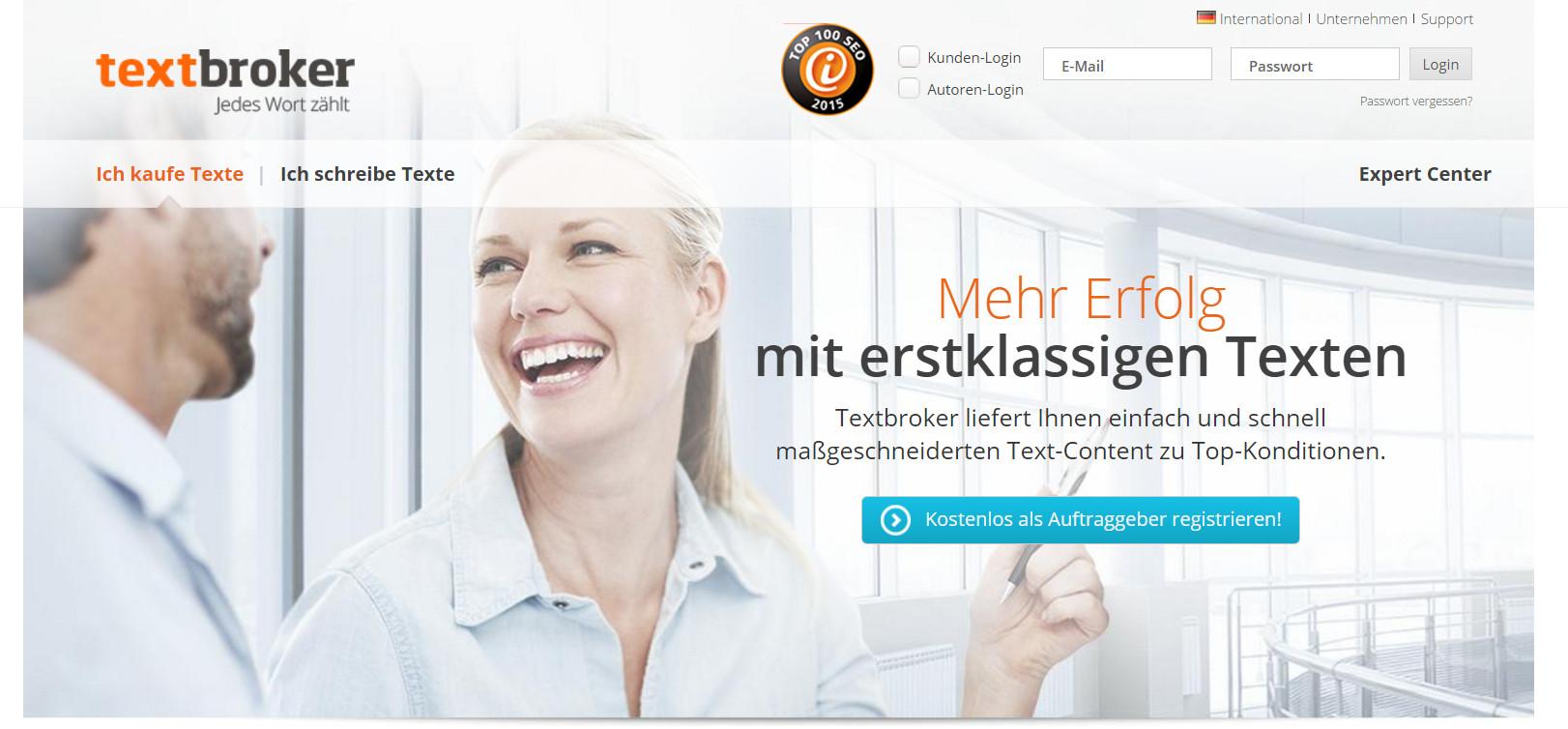 Textbroker.de Webseite