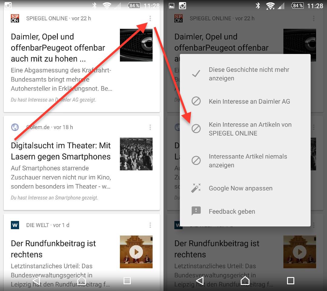 Google Now - Anpassen der Newsquellen