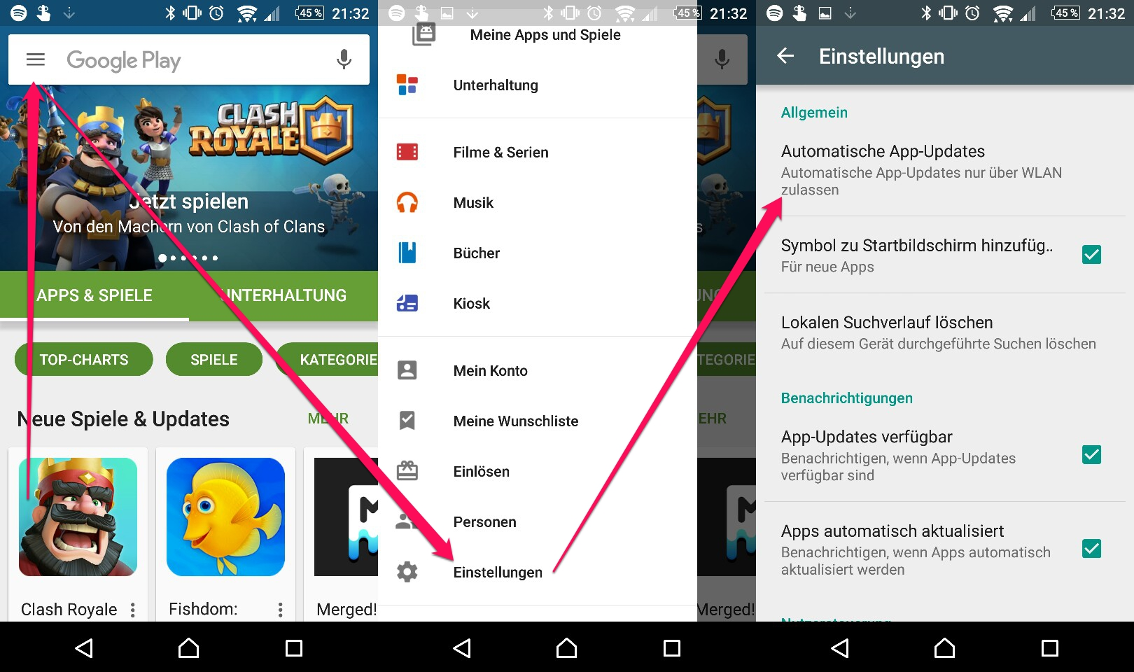 Google Play Store - Automatische App-Updates deaktivieren