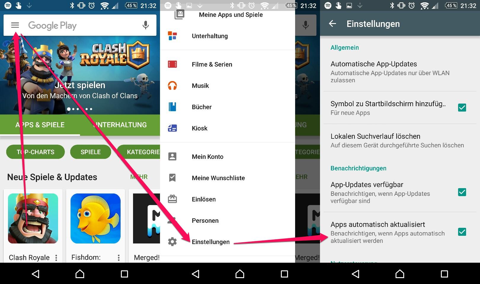 Google Play Store - Benachrichtigung automatisch aktualisierter App ausschalten